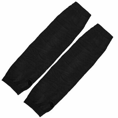 Womens Stretchy Fingerless Arm Warmers Elbow Long Gloves Black Pair