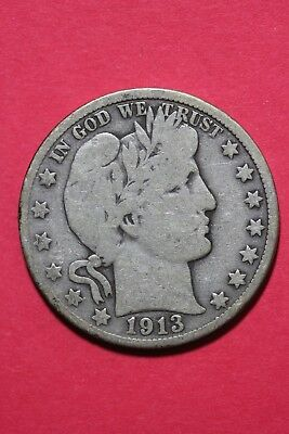 1913 D Barber Liberty Half Dollar Exact Coin Pictured Flat Rate Shipping OCE 516