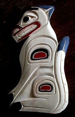 Northwest coast First Nations native wood Art carved Cougar, signed, wall art