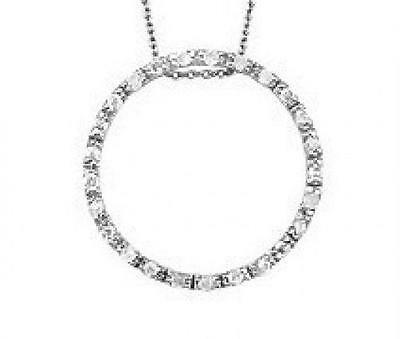 Genuine Diamond Circle of Life Pendant Necklace in Solid Sterling Silver
