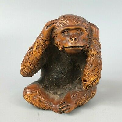 Antique Chinese Collectible Old Boxwood Handwork Cover Their Ears Monkey Statue