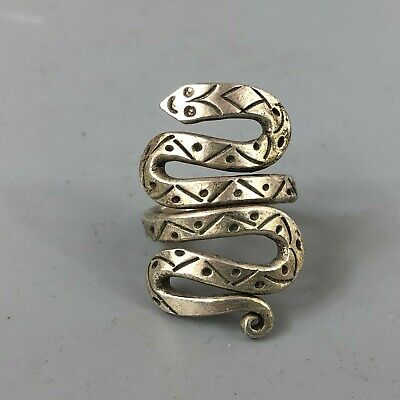 Chinese Rare Collectible Old Tibet Silver Handwork Zodiac Snake No.6 Lady's Ring