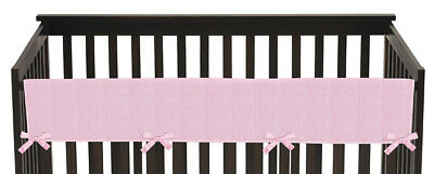 Jojo Pink Chenille Front Rail Guard Crib Cover Baby Teething Protector Wrap