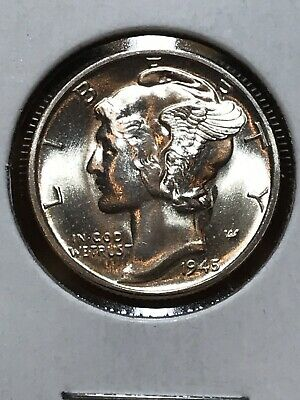 BRILLIANT UNCIRCULATED 1945 Mercury Silver Dime Stunning Coin