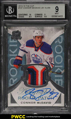 2015/16 The Cup Hockey Connor McDavid ROOKIE RC AUTO PATCH #'d 1/99 BGS 9 (PWCC)