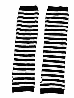 Pair Stripes Printed Stretch Lady Fingerless Arm Warmers Gloves White Black