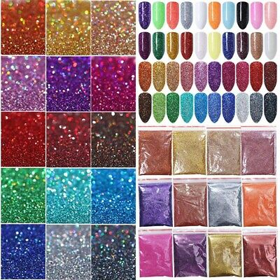 5/10/20g Holographic Nail Glitter Powder Silver Black  Pigment Dust Tips