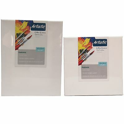 "ARTIST BLANK STRETCHED & ACRYLIC PRIMED BOX FRAMED COTTON ART CANVAS 8x8"" 8x10"""