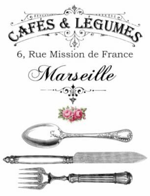 Vintage Image French Cafes & Legumes Silverware Furniture Transfers Decal MIS654