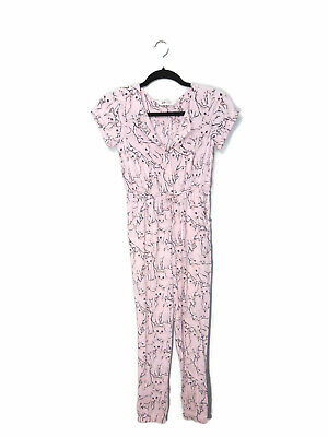 1785de26843 H   M Girls 9 -10y Romper Jumpsuit Cats Kitty Cat Pink Short Sleeve Button