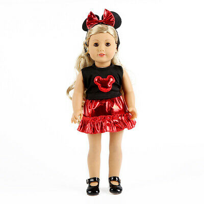 Fit For 18'' American Girl Doll Clothes Minnie Mouse Set Disney Red Ear Headband