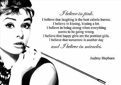 I Believe In Pink Picture Audrey Hepburn Quote Print Inspirational A4 Poster