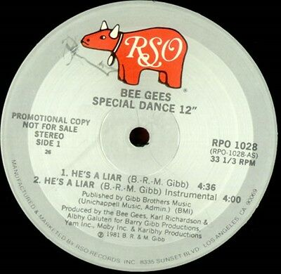 Bee Gees He's a Liar 2 mixes - US DJ 12""