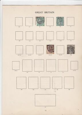 Great Britain windsor album page 1867-80 stamps  ref 10686