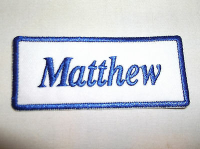 IRON ON NAME PATCH BLUE ON WHITE BRANDON  NEW EMBROIDERED  SEW