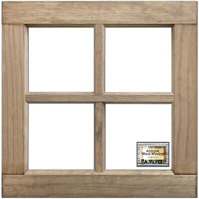 "Salvaged 4-pane Wood Window Frame 16""x16""x1.25""-weathered Wood"