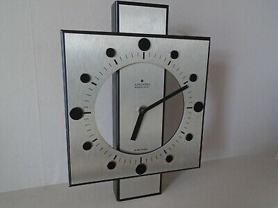 Vintage Junghans Electronic Chrome & Black  Retro Design Wall Clock For Repair