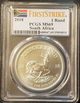 2018 South Africa Krugerrand 1oz .999 Fine Silver PCGS MS69 - First Strike