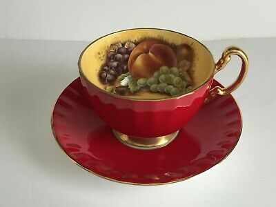 AYNSLEY Bone China Maroon FRUIT Footed Cup and Saucer
