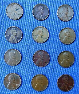 1950, 1951, 1952, and 1953 PDS Lincoln Cents, Circulated, 12 Coins. SAVE w C/S!