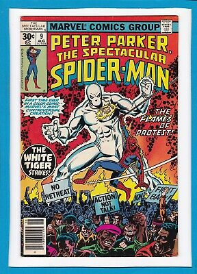 Peter Parker, The Spectacular Spider-Man #9_Aug 1977_Very Fine+_The White Tiger!