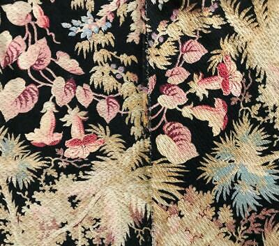 2 PIECES BEAUTIFUL 19th CENTURY FRENCH NAPOLEON III LINEN EXOTIC ORCHIDS 114