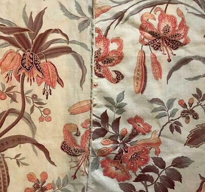 2 BEAUTIFUL FRAGMENTS MID 19th CENTURY LINEN COTTON INDIENNE, LILIES 113.