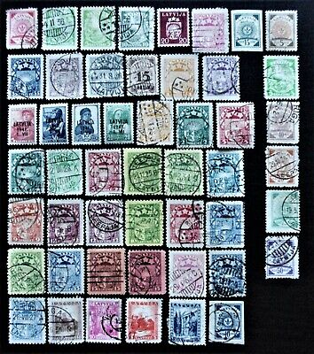 Latvia - 1921-1941 Collection of Used definitive stamps - USED & MH