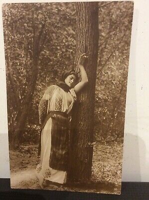 Early 20th Century Romanian Glamour postcard, risque, antique nude