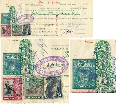 Australia Victoria 1953 Rare Bill Of Exchange With Mixed Franking Revenues #z174