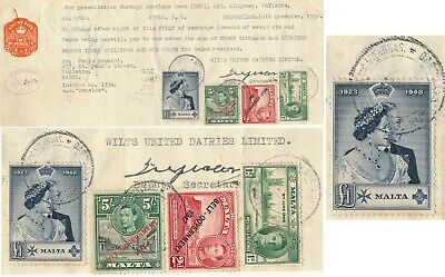 MALTA 1950, BILL OF EXCHANGE W/ 1d, 2d, 5/ & 1£ POSTAGE STAMPS AS REVENUES #Z175