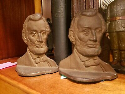 Antique 1928 Connecticut Foundry Abraham Lincoln The Emancipator Book Ends