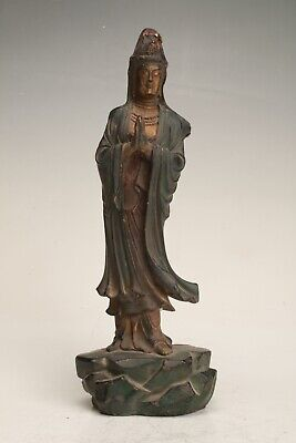 Rare Chinese Bronze Unique Handmade Carving Bodhisattva Statue Old Collection