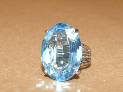 Vintage Cellini LARGE Silver Plate & Blue Oval Cut Crystal Cocktail Ring sz 6.5