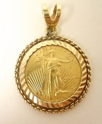 1989 Standing Lady Liberty 5 Dollar 1/10 OZ .999 Fine Gold Coin Bullion Pendant