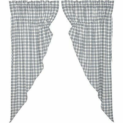 New Primitive Farmhouse BLUE PLAID CHECK Country Curtains Gathered Swags Pair