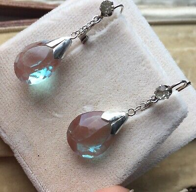 Pair of antique French paste & Saphiret dangly drops silver earrings