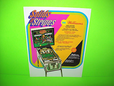 Williams SOLIDS N STRIPES Original 1971 NOS Flipper Game Pinball Machine Flyer