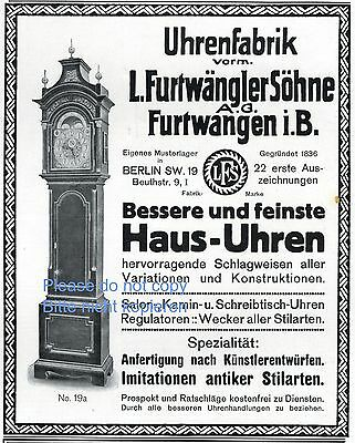 Furtwangler Clock Germany German Ad 1903 Grandfather Clock Advertisement Xc Collectibles Advertising-print