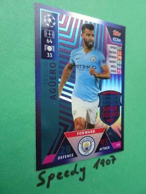 Topps Champions League 18 2019 limited Edition Aguero Squad Match Attax LE2