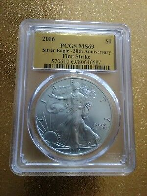 2016 $1 PCGS MS69 First Strike 30th Anniversary Silver American Eagle!