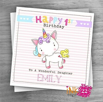 Personalised Cute Girls Unicorn Birthday Card 1st 2nd 3rd Daughter Niece