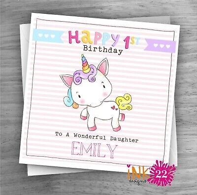 PERSONALISED CUTE GIRLS Unicorn Birthday Card 1st 2nd 3rd Daughter