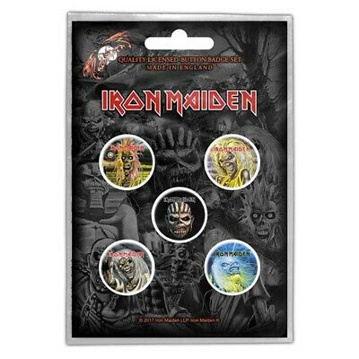 Iron Maiden Button Badge Pack: The Faces Of Eddie - Pack Official Five Rock