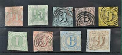 Thurn And Taxis Germany Stamps Selection Of 9 X Early Issues   (W190)