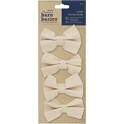 Papermania 4-piece Bare Basics Large Canvas Bows, Beige