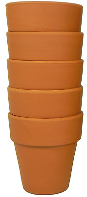 Small Terracotta pots, Pack of 5, 9 cm in diameter. Quality Made in England.