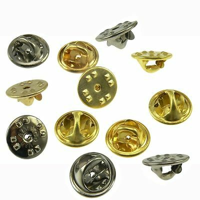 QTY 12 Brass Clutch Clasp Butterfly Military Pin Backs Guards Gold / Chrome