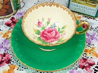 Aynsley Pink Rose Blue Forget Me Not Green Oban Tea Cup And Saucer