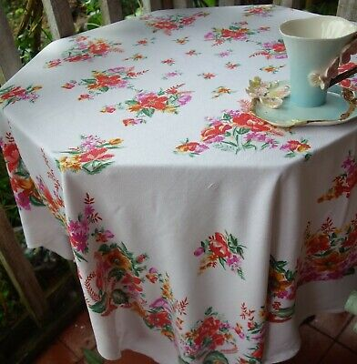 large vintage print cotton tablecloth 58x50 inches